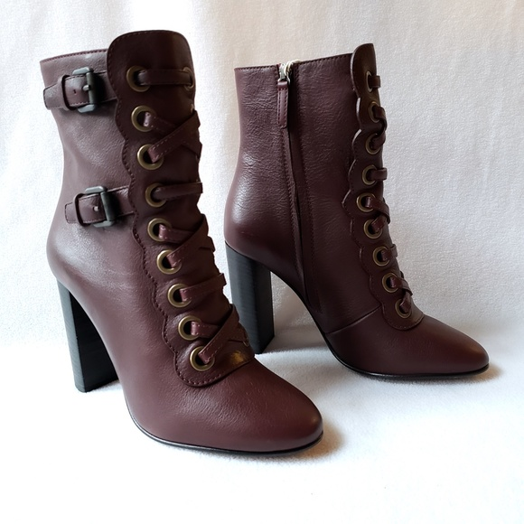 Chlo Maroon Lace Up Leather Ankle Boots